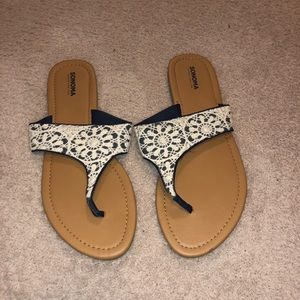 Navy and White Sandals